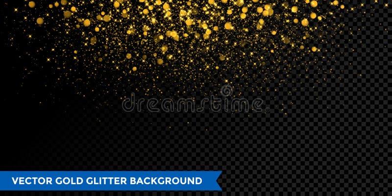 Предпосылка влияния confetti рождества яркого блеска золота с искрой пыли иллюстрация вектора