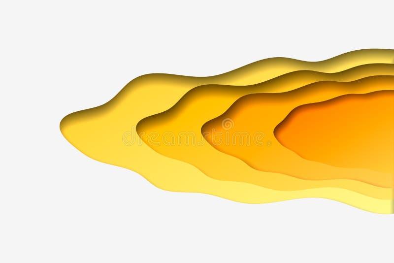 предпосылка волны конспекта 3d отрезанная бумагой желтая Шаблон вектора в высекать стиль искусства иллюстрация вектора