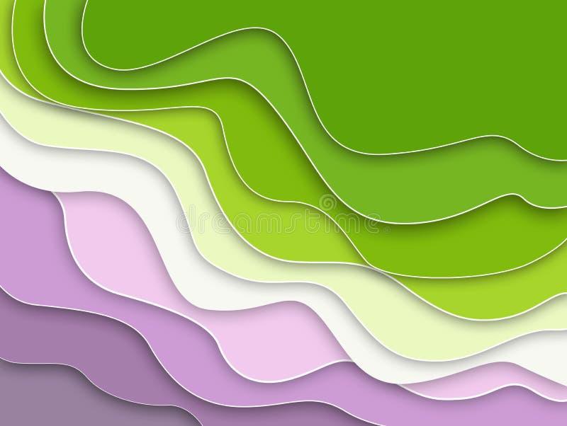 Предпосылка волн абстрактная Мягкие красивые волны, имитационная бумага иллюстрация штока