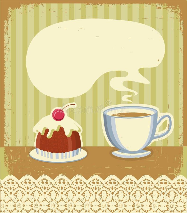 Предпосылка времени чая год сбора винограда с сладостной пустыней иллюстрация вектора