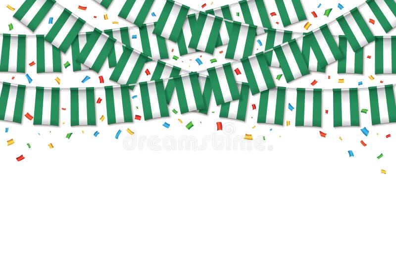 Предпосылка гирлянды флага Нигерии белая с confetti иллюстрация штока