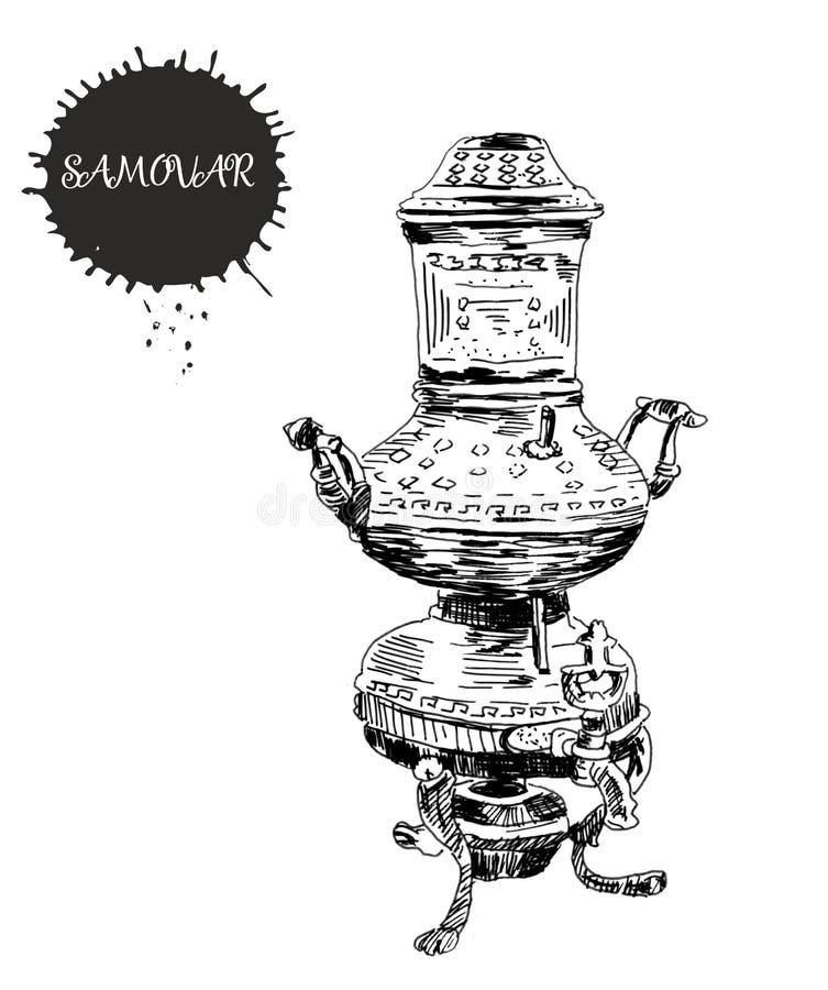 Предпосылка года сбора винограда чая Иллюстрация эскиза руки вычерченная Дизайн меню Китайский чайник с чашкой и листьями чая бесплатная иллюстрация