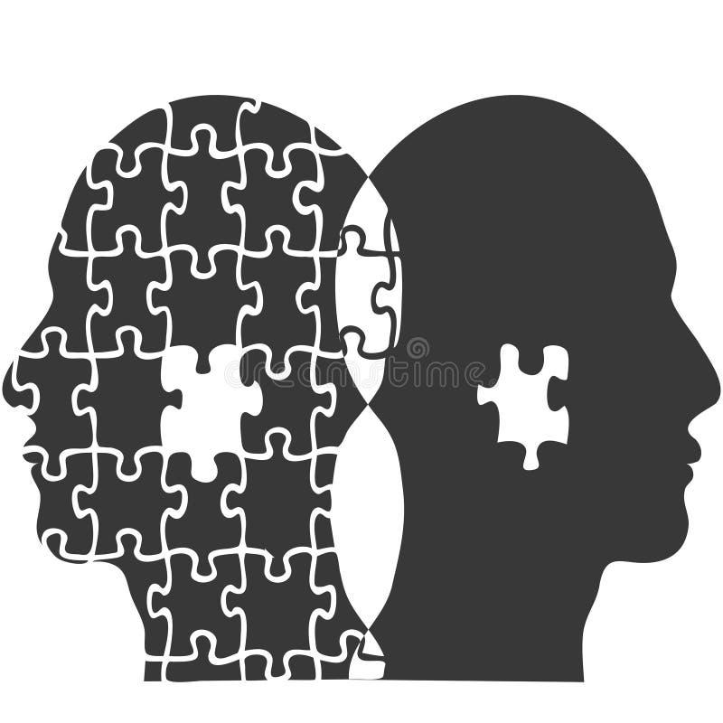 Предпосылка головы людей мозаики пар иллюстрация вектора