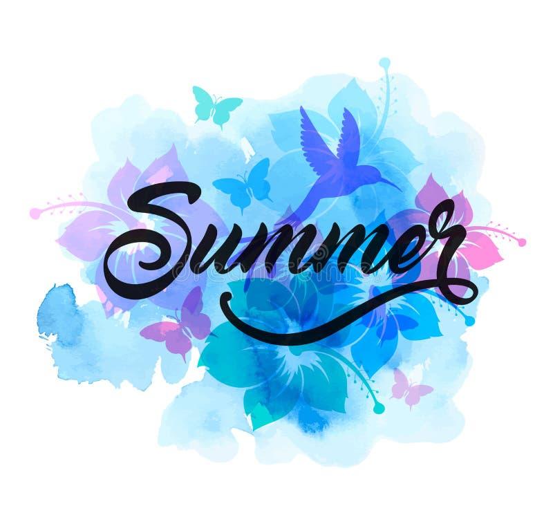Предпосылка голубого абстрактного лета тропическая иллюстрация штока