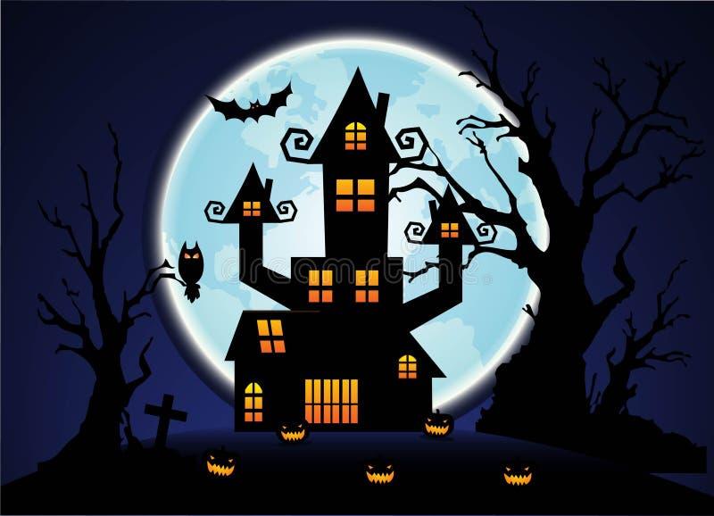 Предпосылка голубого неба и полнолуния ночи хеллоуина бесплатная иллюстрация
