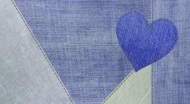 Предпосылка голубых джинсов и сердце джинсов стоковое фото