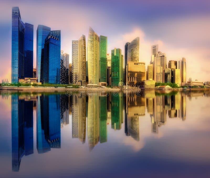 Предпосылка горизонта Сингапура стоковое изображение
