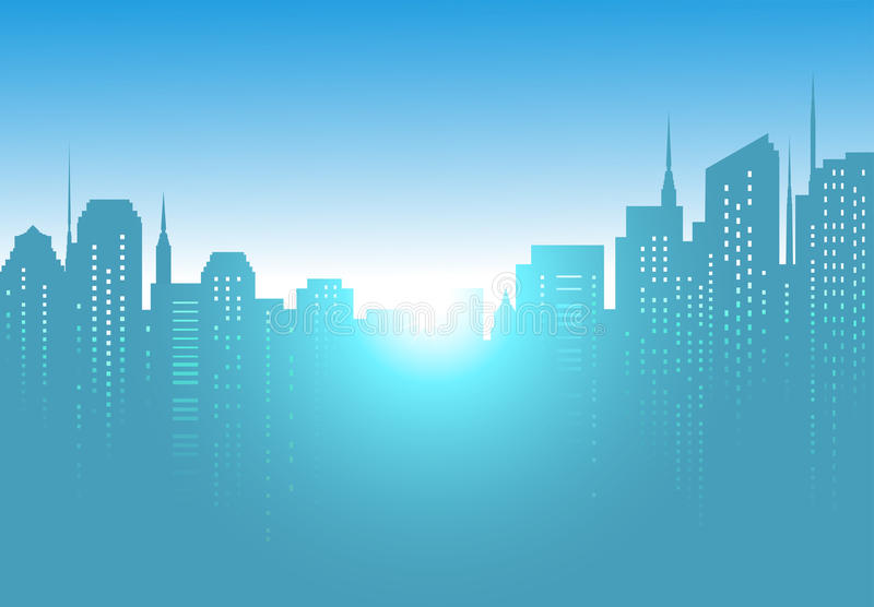 Предпосылка города с восходом солнца и голубым небом иллюстрация вектора