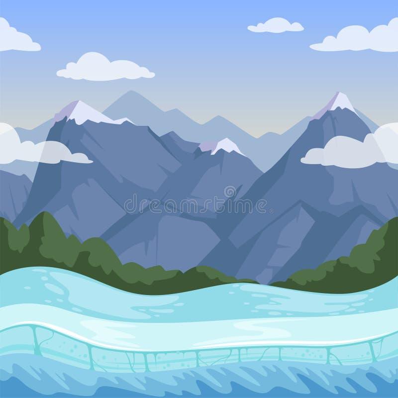 Предпосылка горы зимы Картина на открытом воздухе скалистого вектора сброса снега местности холмов безшовная иллюстрация вектора