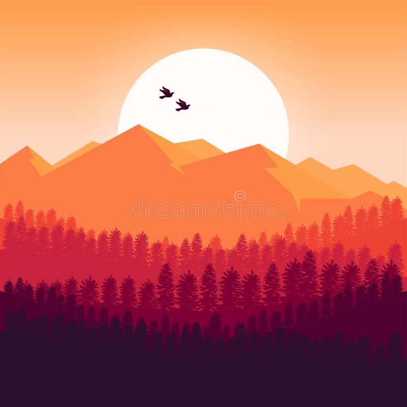 Предпосылка гор на дизайне захода солнца бесплатная иллюстрация