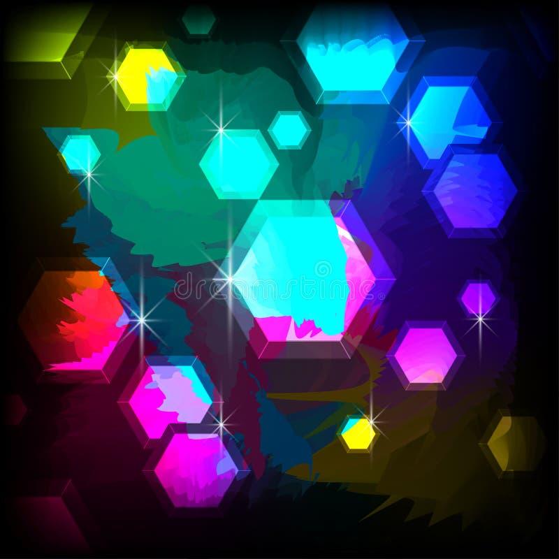 Предпосылка градиента с шестиугольниками и слепимостью стоковое фото