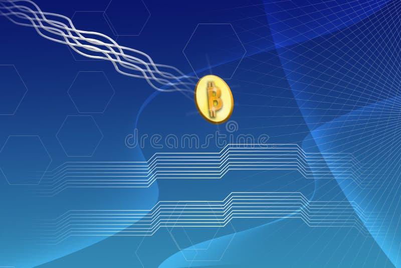 Предпосылка градиента Blockchain абстрактной футуристической валюты Bitcoin секретной голубая иллюстрация вектора