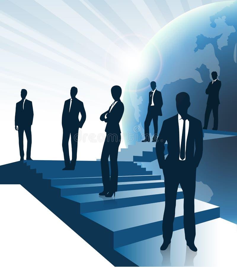 Предпосылка дела, бизнесмены стоя на лестницах, концепция роста карьеры иллюстрация штока