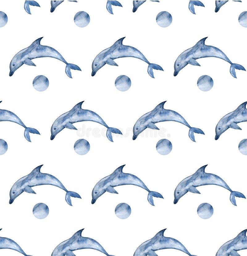 Предпосылка дельфинов акварели Покрашенная рукой картина акварели со стилизованным голубым дельфином иллюстрация вектора