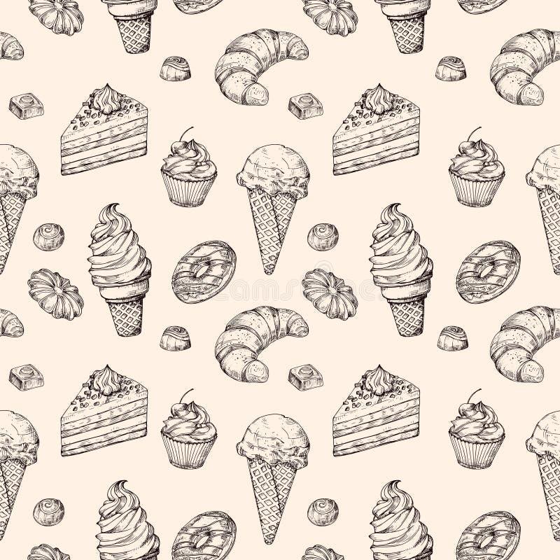 Предпосылка десерта эскиза безшовная Помадки пирожное тортов и вектор руки мороженого вычерченный создавая программу-оболочку тек иллюстрация штока