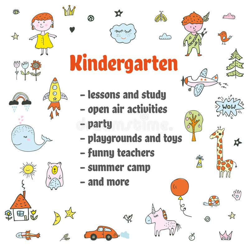 Предпосылка детского сада объявления со смешными doodles также вектор иллюстрации притяжки corel бесплатная иллюстрация