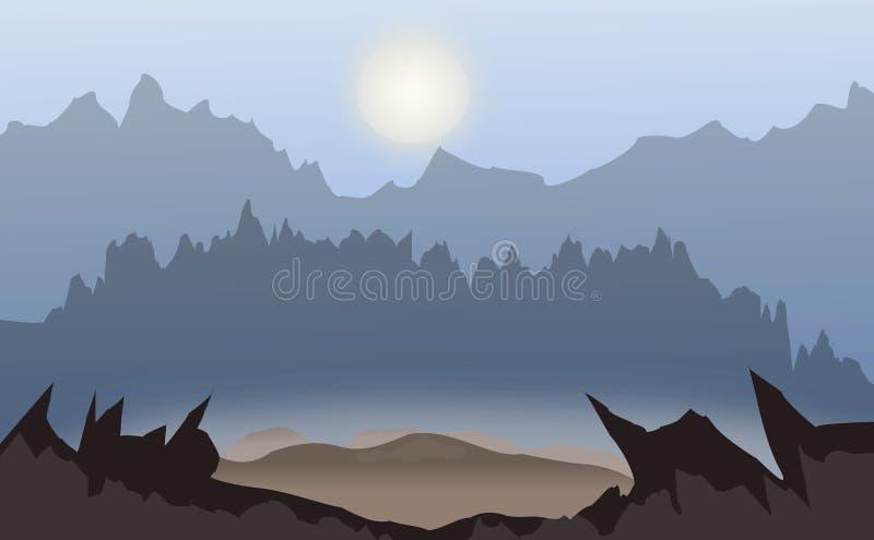 Предпосылка дизайна вектора с ландшафтом зимы темной ночью горы, лес иллюстрация штока