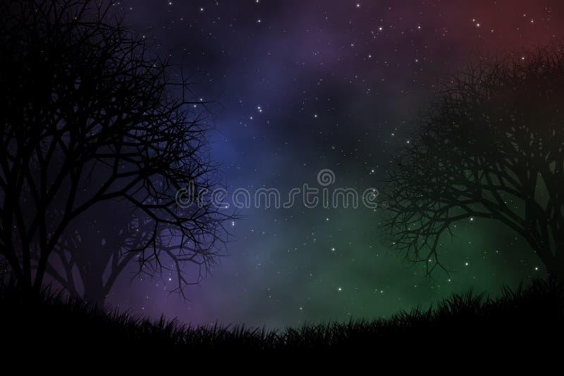 Предпосылка дизайна иллюстрации взгляда ночного неба стоковое изображение rf