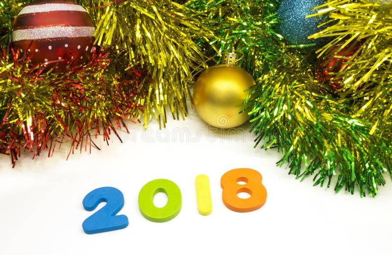 Предпосылка дизайна рождества сусали счастливого Нового Года 2018 красочная стоковое изображение