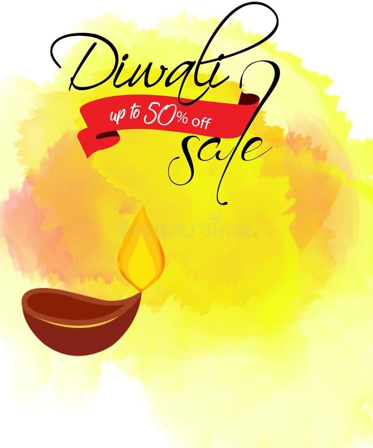 Предпосылка дизайна шаблона продажи фестиваля, счастливые предложения diwali, творческое знамя продажи или плакат продажи для фес иллюстрация вектора