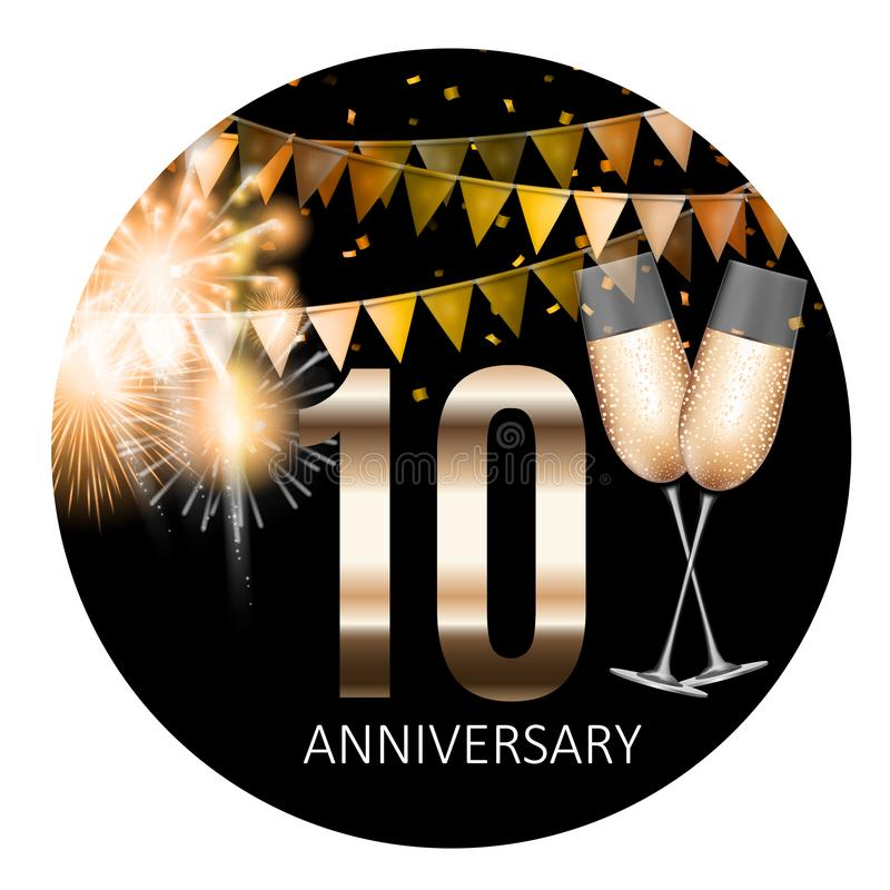 Предпосылка дизайна шаблона эмблемы 10 годовщин также вектор иллюстрации притяжки corel иллюстрация штока