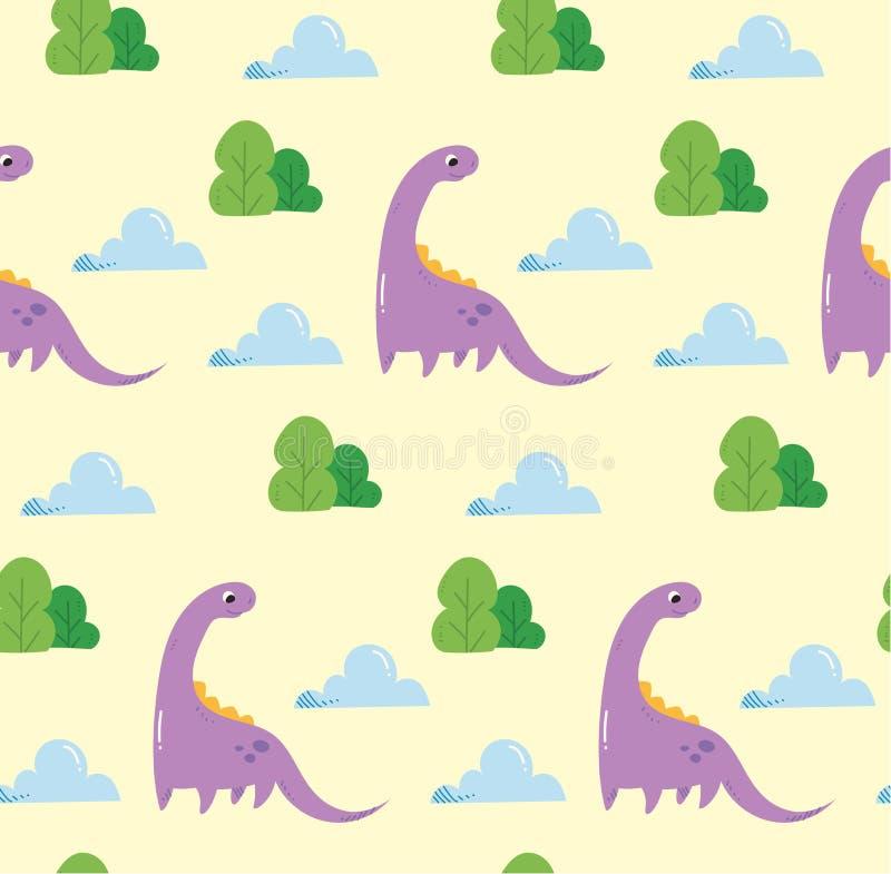 Предпосылка динозавра безшовная в векторе стиля kawaii иллюстрация штока