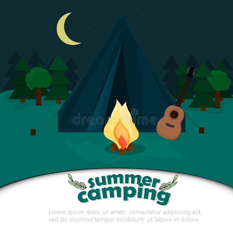 Предпосылка для летнего лагеря бесплатная иллюстрация