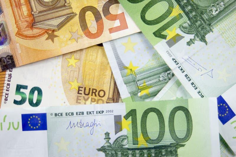 Предпосылка для текста от счетов евро стоковое изображение