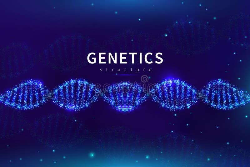 Предпосылка дна медицинская Биотехнология, лаборатория науки генетическая Геном исследуя фон вектора с клеткой ДНК 3d иллюстрация штока