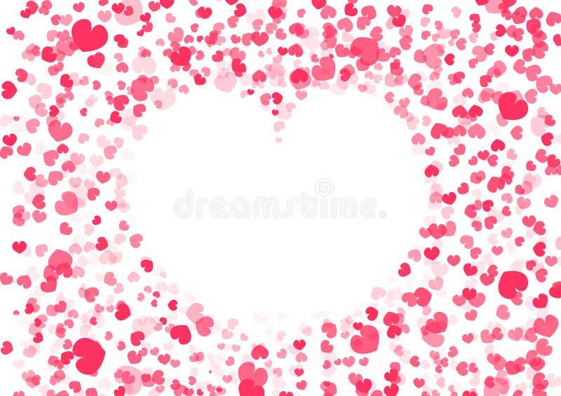 Предпосылка дня Валентайн, рамка формы сердца, украшение confetti падая бумажное иллюстрации конспекта вектора любов иллюстрация вектора