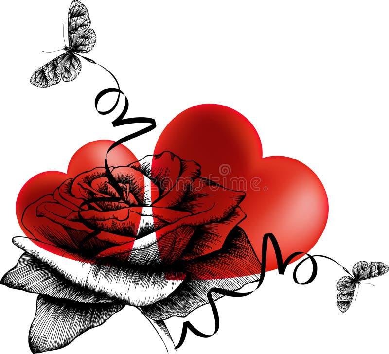 Предпосылка дня Валентайн с сердцами, розами и bu иллюстрация штока