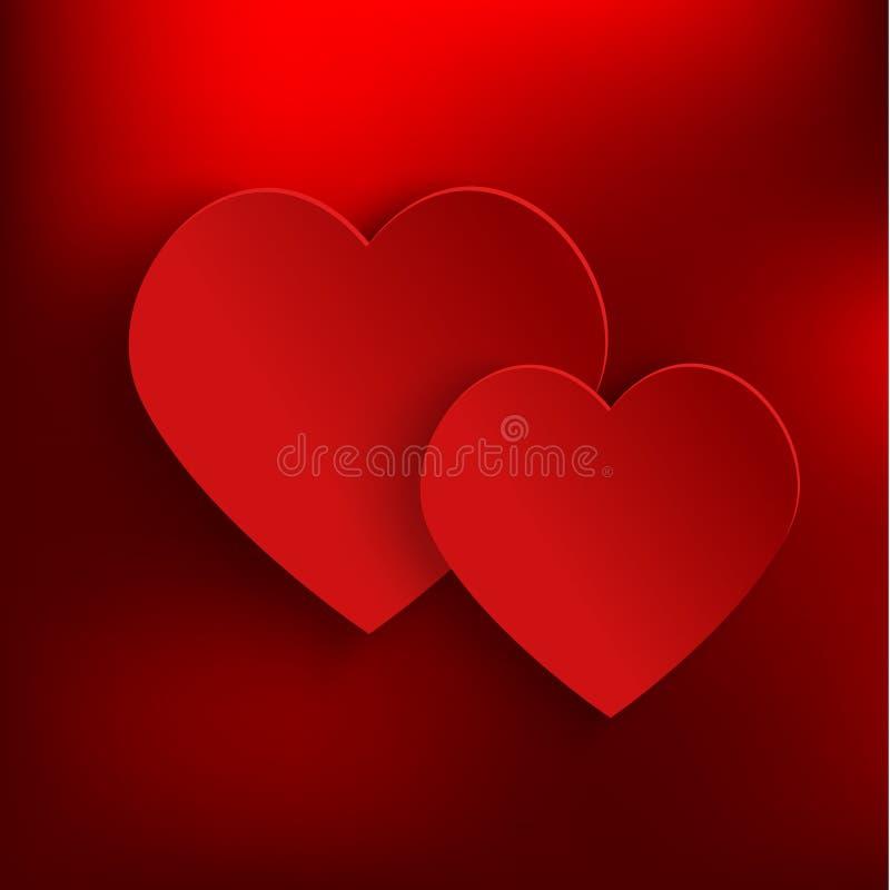 Предпосылка дня валентинок с 2 красными сердцами 3d иллюстрация штока