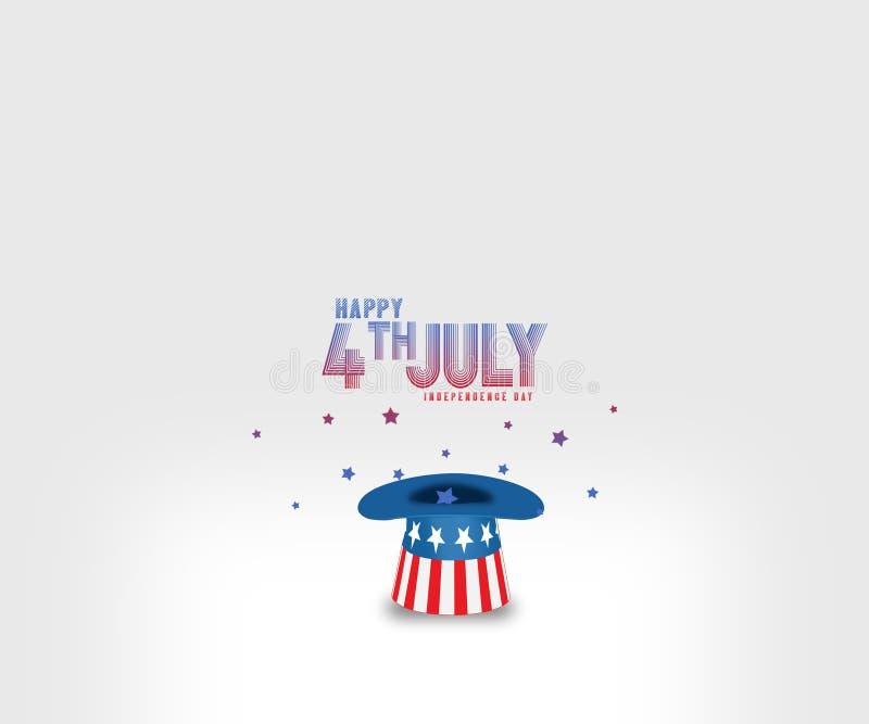 Предпосылка Дня независимости 4-ое июля праздничная с иллюстрацией шляпы в цвете американского флага иллюстрация штока
