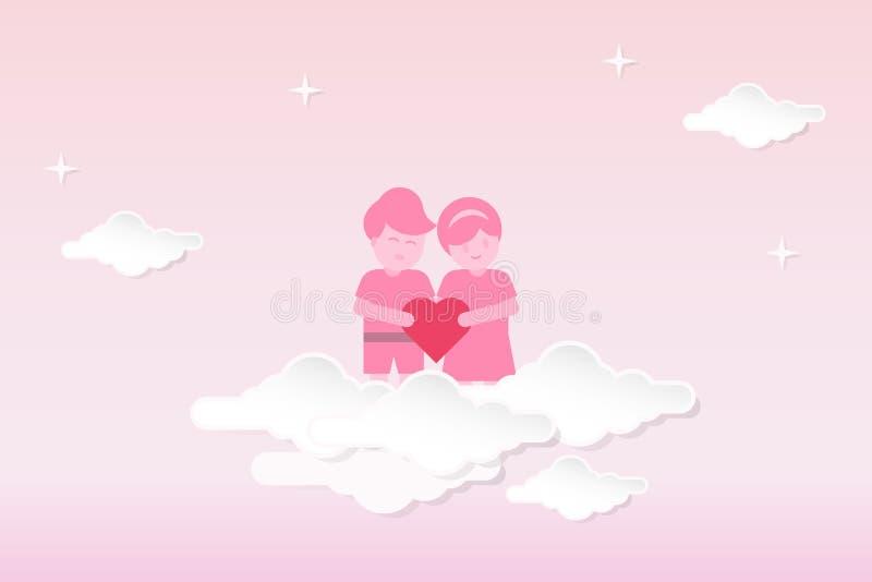 Предпосылка дня Святого Валентина вектора в бумажном отрезанном дизайне стиля Пары держа форму сердца, стоя над облаками иллюстрация вектора