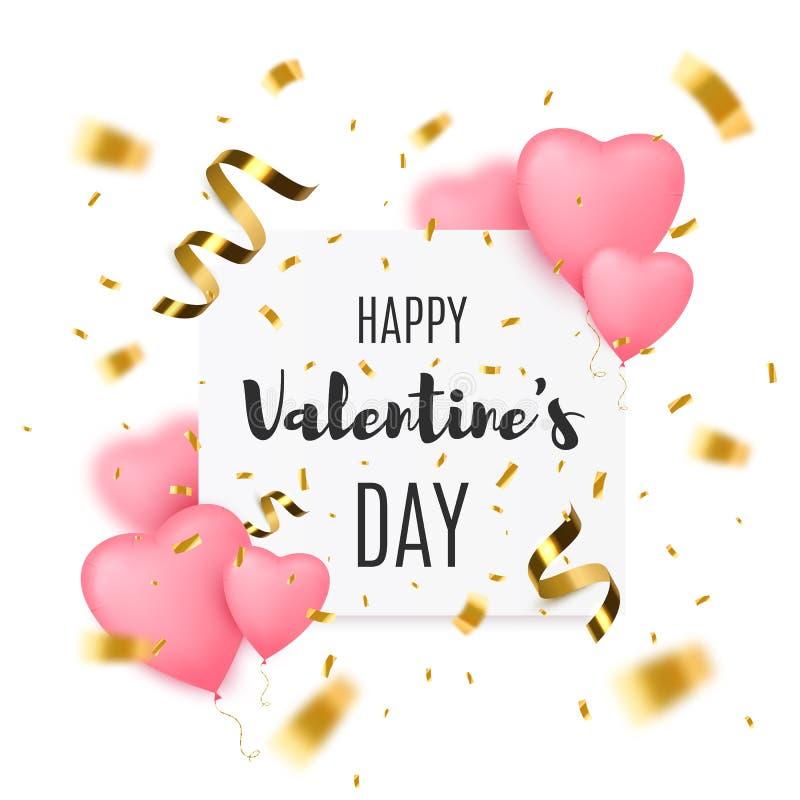 Предпосылка дня Святого Валентина с воздушными шарами сердца форменными и confetti золота иллюстрация штока