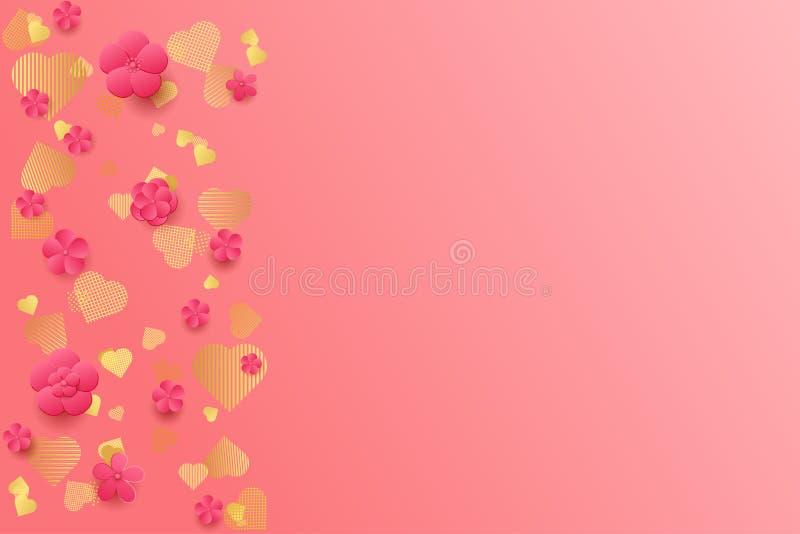 Предпосылка дня ` s Валентайн Розовые цветки и сердца золота иллюстрация вектора