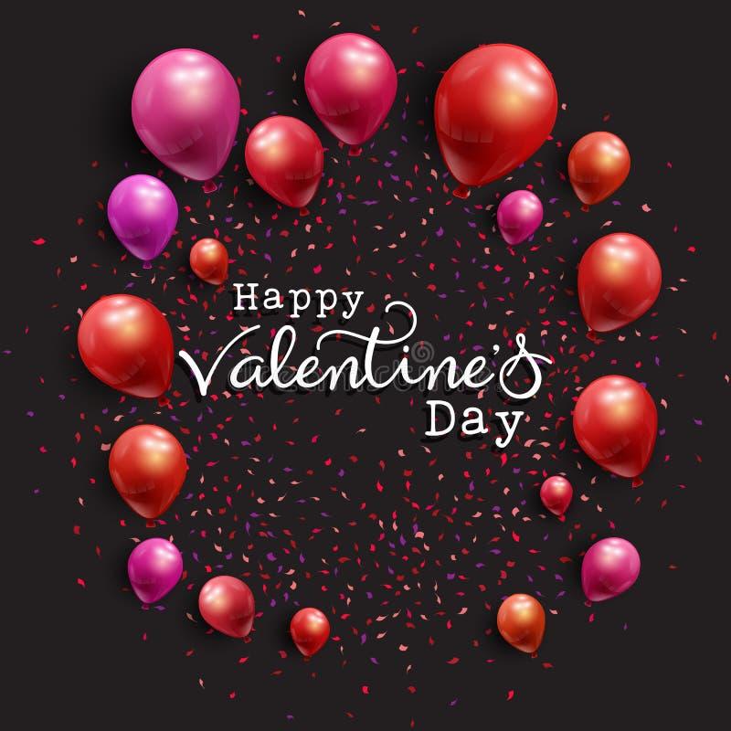 Предпосылка дня ` s валентинки с воздушными шарами и confetti бесплатная иллюстрация