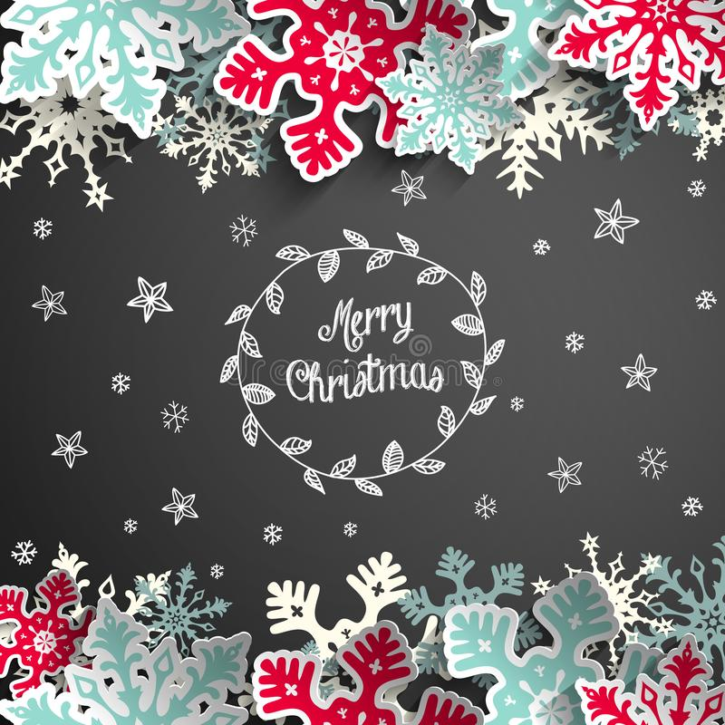 Предпосылка доски рождества с снежинками и маленькими звездами бесплатная иллюстрация