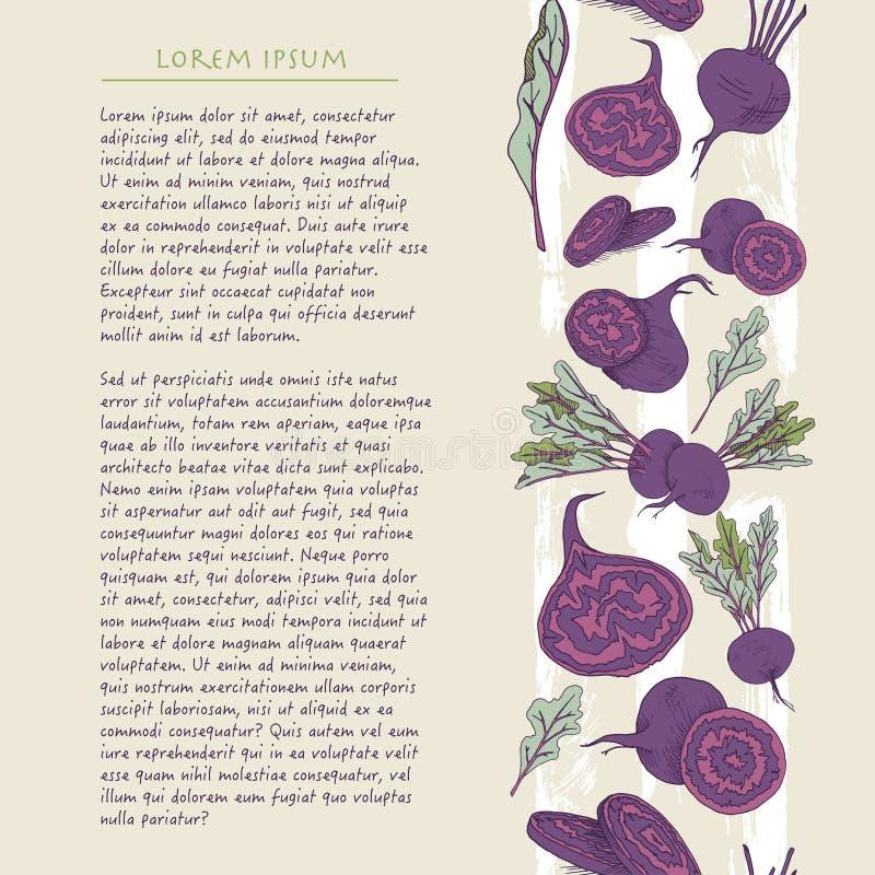 Предпосылка еды с шаблоном средств массовой информации красочной руки овоща корня свеклы вычерченным вертикальным социальным бесплатная иллюстрация