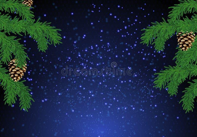 Предпосылка ели рождества над волшебным голубым небом с звездами стоковое изображение