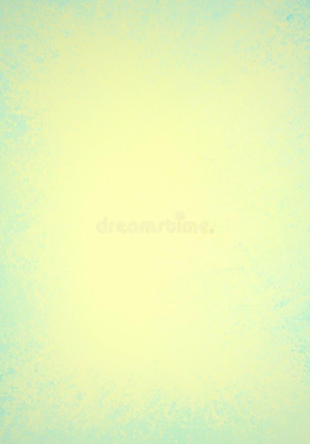 Предпосылка желтого и голубого зеленого цвета с старой огорченной текстурой и мягким милым дизайном границы цвета весны бесплатная иллюстрация