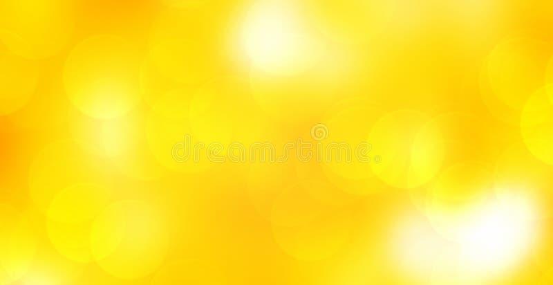 Предпосылка желтого цвета абстрактной нерезкости накаляя панорамная со светом bokeh двойной экспозиции для ce счастливого Нового  стоковые изображения