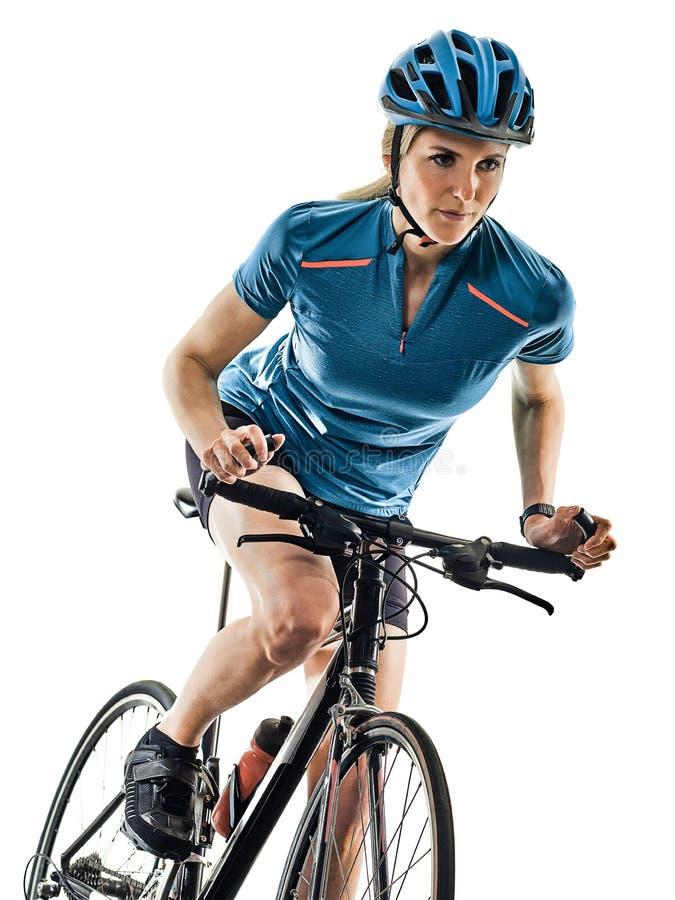Предпосылка женщины велосипеда велосипедиста задействуя ехать белая стоковые фото