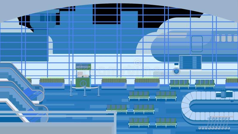 Предпосылка залы на авиапорте иллюстрация штока