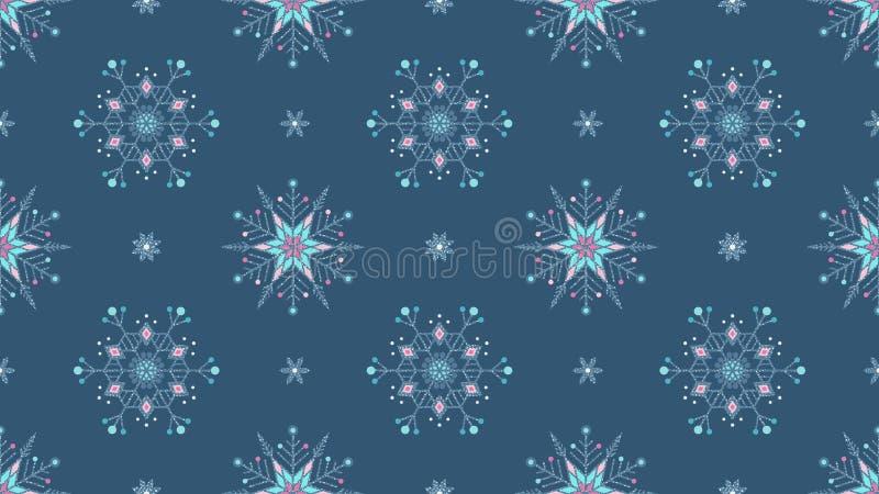 Предпосылка замороженного grunge снежинок богато украшенного голубая безшовная стоковые изображения