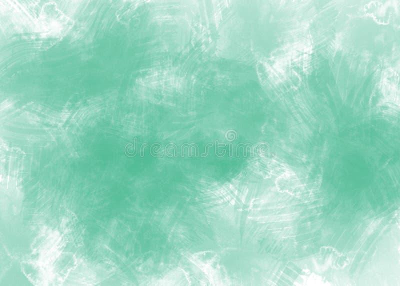 Предпосылка зеленого цвета акварели конспекта на белой бумаге иллюстрация штока