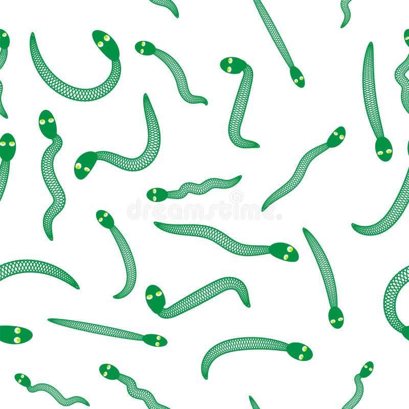 Предпосылка зеленой змейки безшовная Животная картина иллюстрация вектора