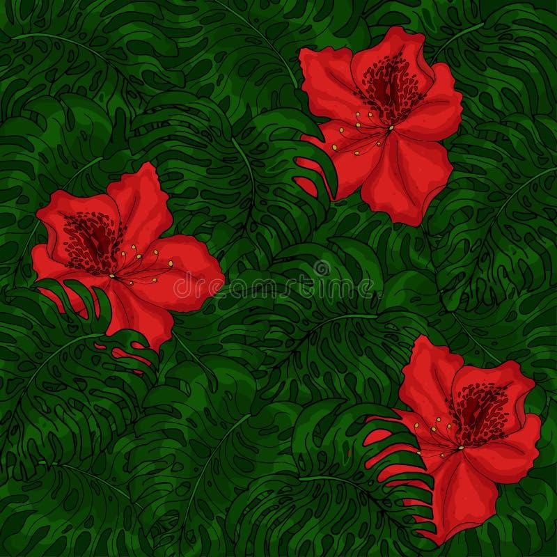 Предпосылка зеленых листьев monstera и красных цветков азалии бесплатная иллюстрация