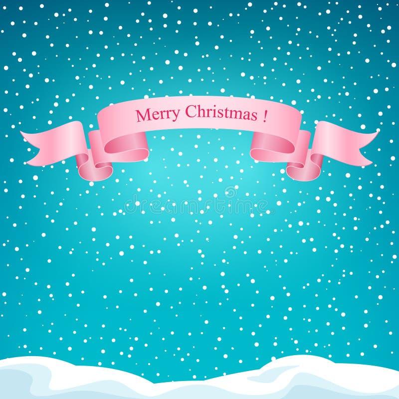 Предпосылка зимы праздника с розовой лентой иллюстрация вектора