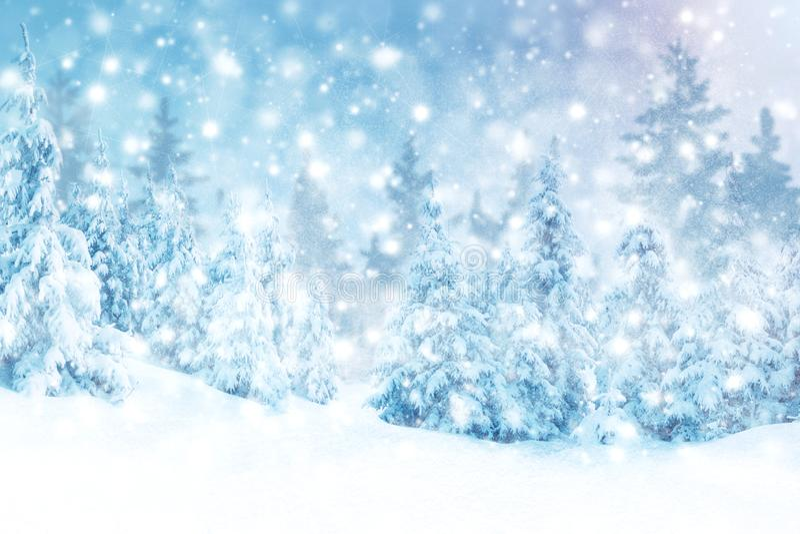 Предпосылка зимы снега и заморозок с открытым космосом для вашего украшения : иллюстрация штока